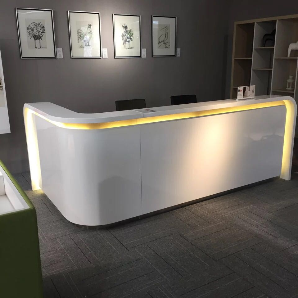 2.8 M Modern White Reception Cashier Desk Supplier With Led Light #QT2800-W