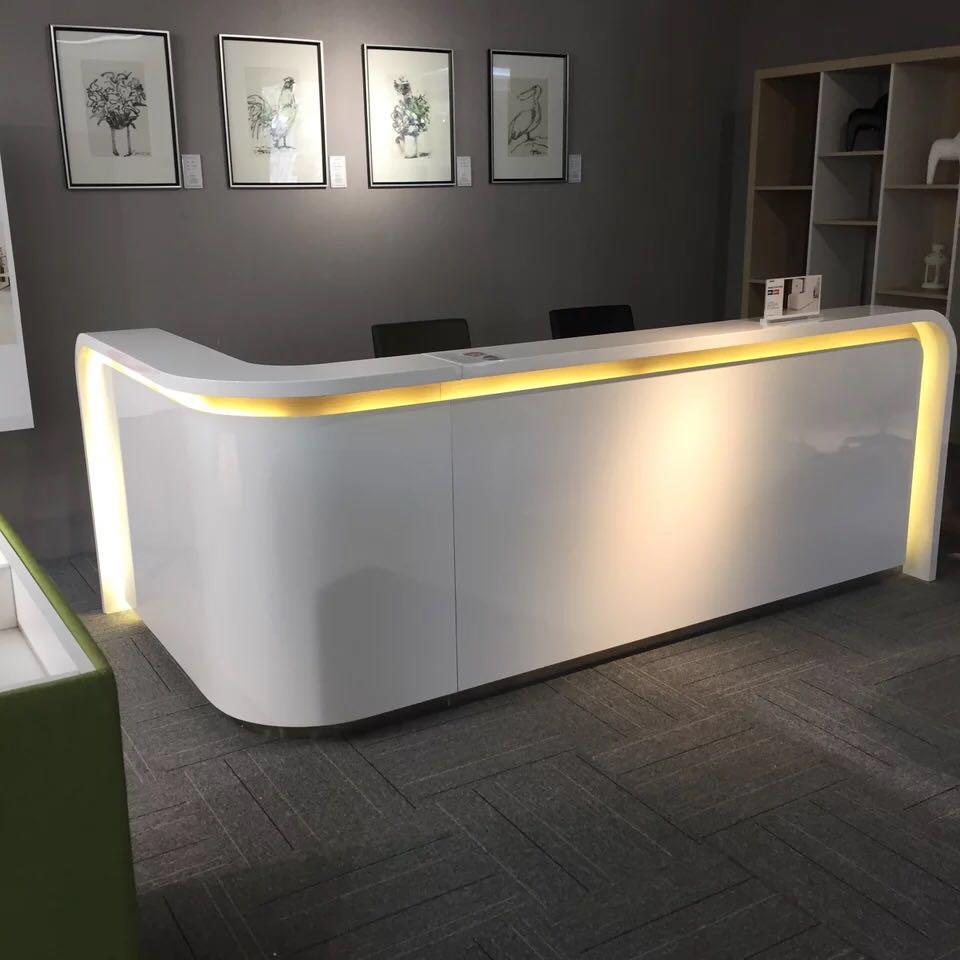 2,8 m moderno blanco recepción cajero escritorio proveedor con luz led # QT2800-W