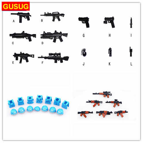 GUSUG Guns helmet and Beret UN Bulletproof Vest Golden AK Weapons Pack Military Series Army l Arms For City Police Blocks Toys