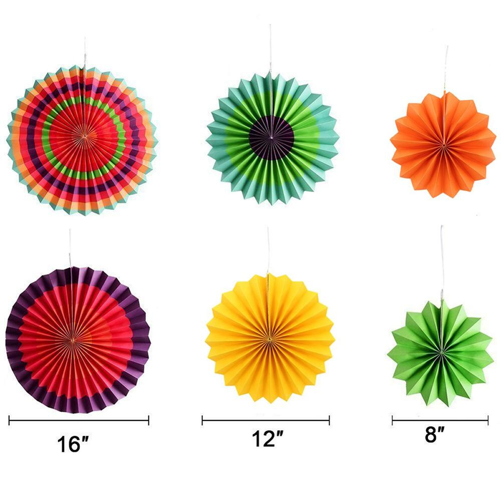6pcs set Pleated Paper Fans Set Rainbow Color Birthday Baby Shower Festival Wedding Hanging Photo Props Decor Hot Sale in Party DIY Decorations from Home Garden