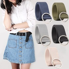 Women Color  Waistband Round Buckle Rings Unisex Belt Fashion Canvas for Soft Long Adjustable Waist Belts