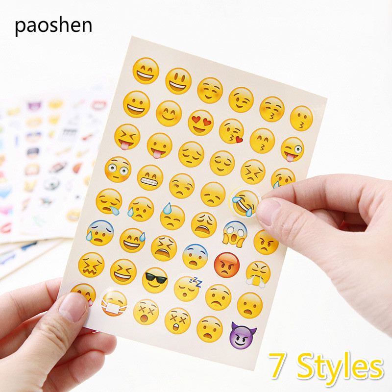 6 Styles 1 Pcs Sticker 48 Classic Emoji Smile Face Stickers for Notebook Diary Albums Message Expression Funny Emoji Sticker Toy 5 sheets cut sticker 48 emoji smile face stickers for notebook laptop message twitter large viny instagram