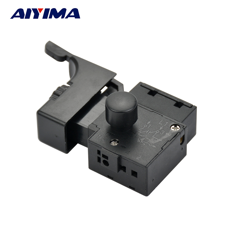 1pcs AIYIMA FA2-6/1BEK Lock on Power Tool Electric Hand Drill Speed Control Trigger Switch spno 5e4 lock on electric drill power tool trigger switch
