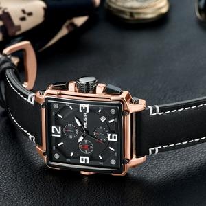 Image 4 - Üst marka lüks MEGIR yaratıcı erkekler İzle Chronograph kuvars saatler Saat erkek deri spor ordu askeri bilek İzle Saat 2020