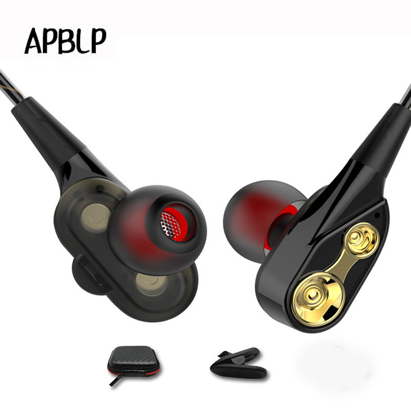 APBLP Double Dynamic In Ear Wire Earphone Music Bass Running Sport Earphone Headset