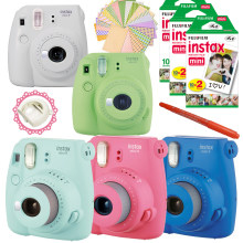 Novo 5 Cores Fujifilm Instax Mini 9 Instant Camera + 50 Fotos Filme Instantâneo Fuji Mini 8 White Frame + Free 20 pcs Stickers & caneta(Hong Kong,China)