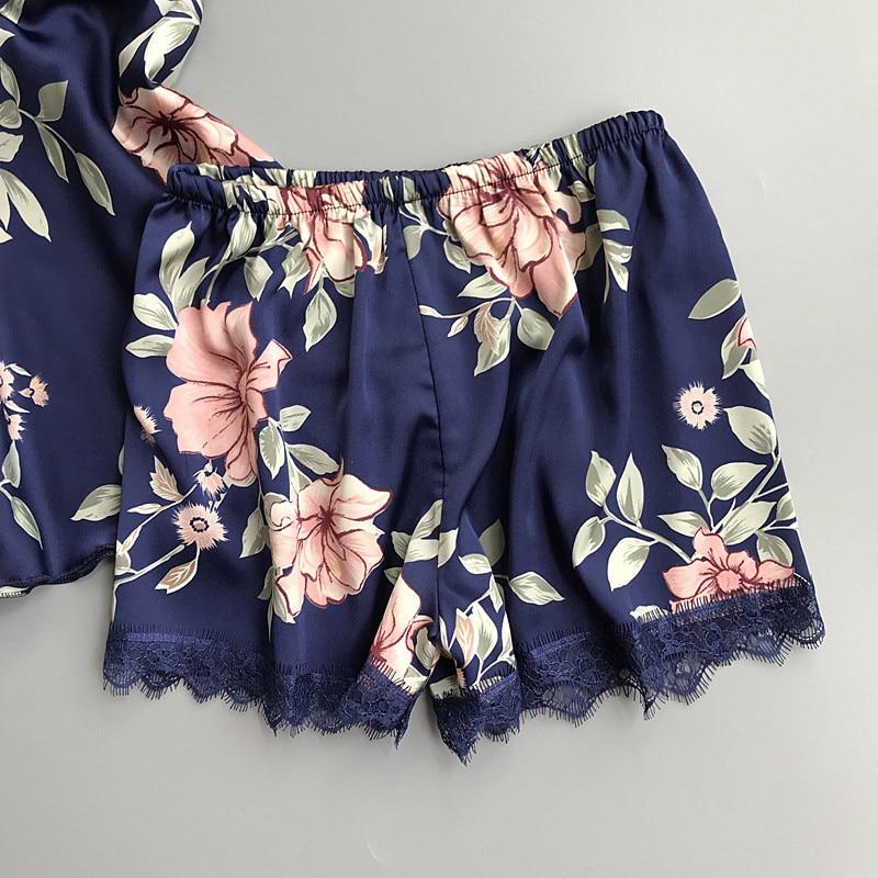 Summer satin silk Floral women short sleepwear set sleep sexy wear women short pajama sets spaghetti strap v-neck pyjamas women
