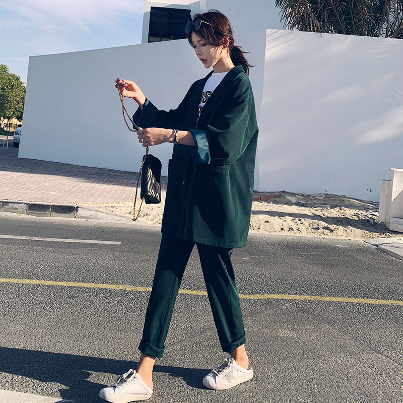 Set Female 2019 Fashion New Women's Suit Korean Version Of The Large Size Loose Suit Jacket Nine Points Wide Leg Pants Two-piece