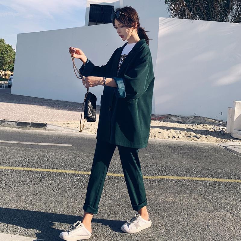 Set Female 2019 Fashion New Women's Suit Korean Version Of The Large Size Loose Suit Jacket Nine Points Wide Leg Pants Two-piece