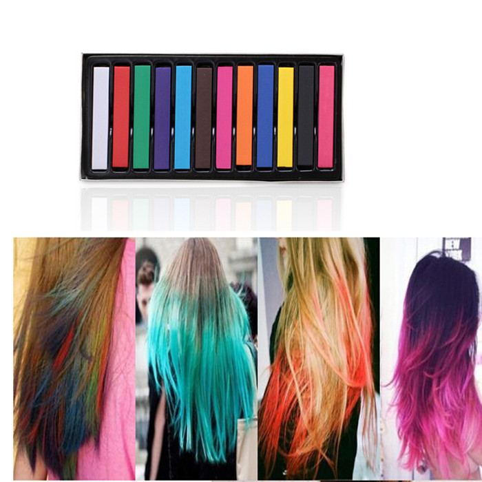 12 Colors Hair Dye Easy Temporary Colors Non Toxic Hair Chalk Soft