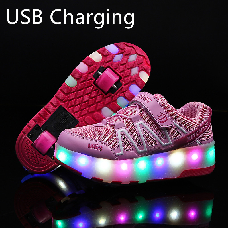 Children's Shoes Adriana Led Heelys Shoes With Wing Automatic Lamp Flashing Sport Casual Shoes Kids Sneakers Fashion Breathable For Boys Girls