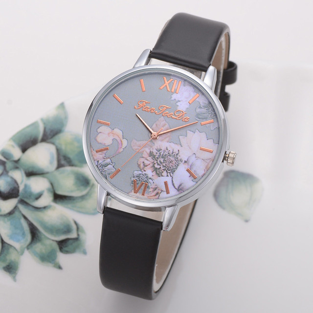 New Fashion Watch Luxury Flowers Printed Watch Women Casual Quartz Watch Elegant