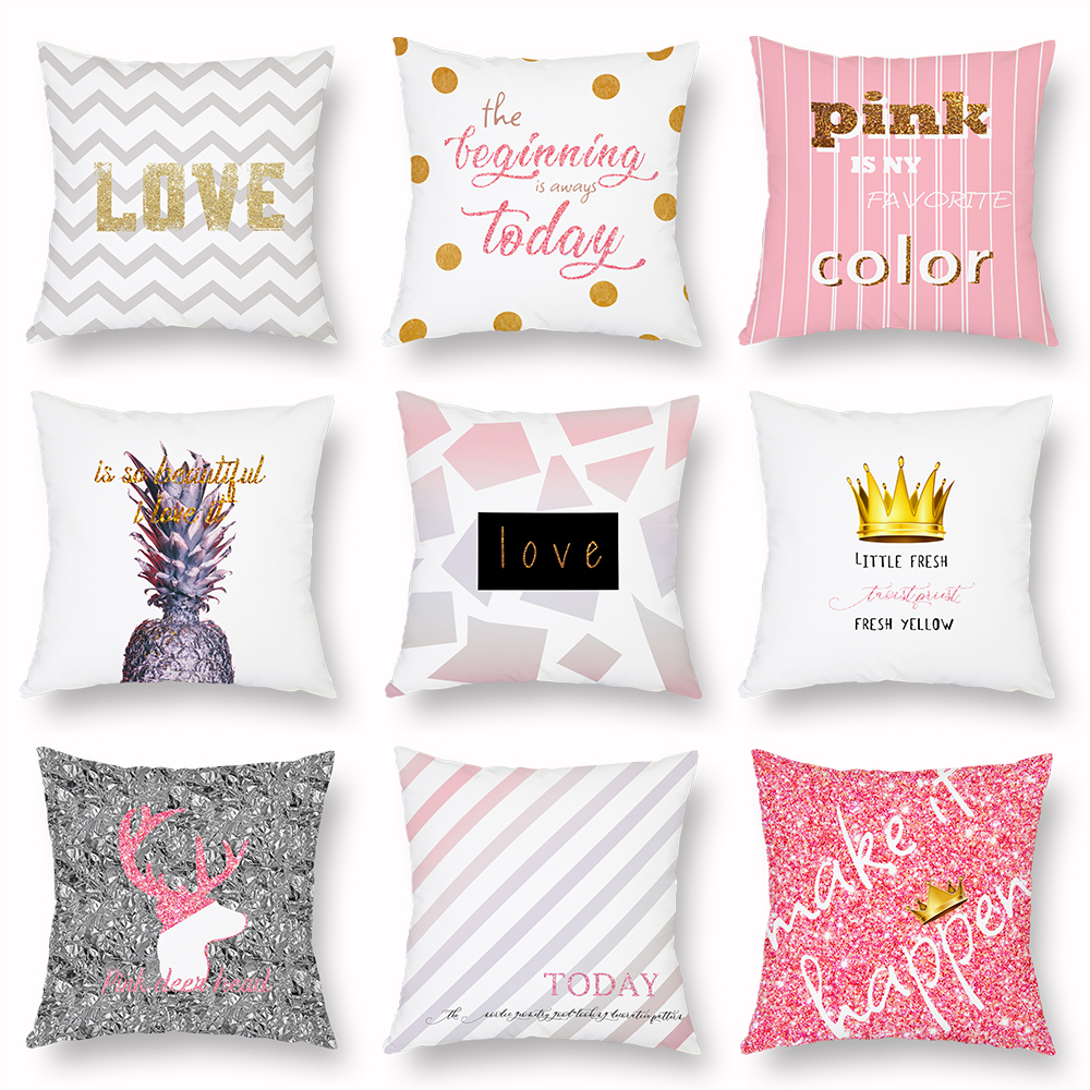 Pink Cushion Cover Deer Crown Love Stripe Peach Skin Sofa Decorative Pillow Covers Car Bed Living Room Home Decor Cases 45x45cm