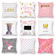 Pink Cushion Cover Deer Crown Love Stripe Peach Skin Sofa Decorative Pillow Covers Car Bed Living Room Home Decor Cases 45x45cm цены