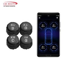 Wireless Bluetooth Smart Car Tire Pressure Monitoring System Auto Tyre TPMS with 4 External Sensors for iOS Android Phone App