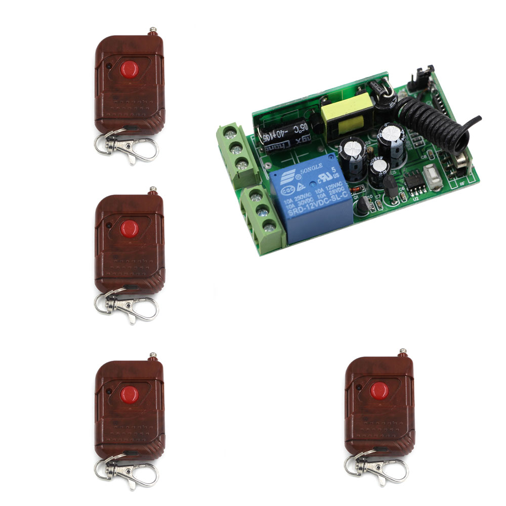 AC85V 110V 220V 250V 10A 1CH RF Wireless Remote Control Lighting Switch 4Transmitter+Receiver for Lamp& Other Eletrical Products dc24v 8ch rf wireless remote control switch 8 receiver