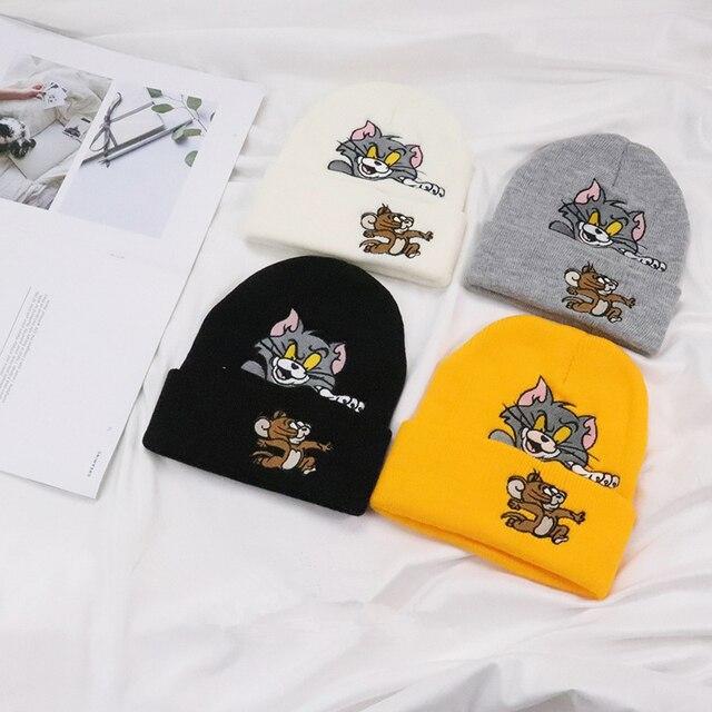 304e12170b0 Men women winter cpas kanye west hip hop streetwear Tom and Jerry thick  casual warm cartoon cotton boys cap hat kullies Beanies