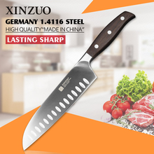 XINZUO 7 inch Japanese chef knife German steel kitchen knife super sharp santoku knife rosewood handle kitchen tool free shiping