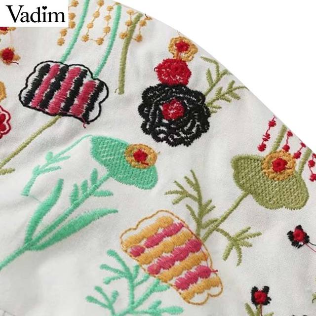Vadim women sweet lace up floral embroidery V neck shirts oversized long sleeve white blouse ladies loose tops blusas LT2039
