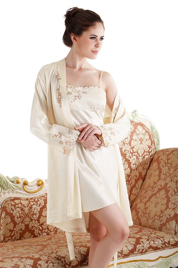 Beige Cream Color High-end Silk Embroidery Nightgown and Robe Sets