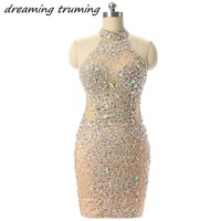2018 Bling Short Party Cocktail Dresses Sheath See through Heavily Beaded Crystal Champagne Homecoming Graduation Dress