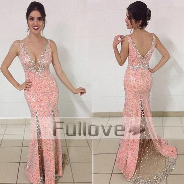 Extravagant Pink Sequin Crystal Mermaid Evening Dresses Long Deep V ...