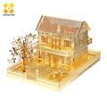 WMX Gold Villa 3D Metal Puzzle Children DIY Assembly Model Buildings Jigsaw Puzzle Exercise Brain Educational Kids Toys