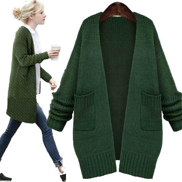 Cardigan Camisola Das Mulheres 2016 Outono Inverno Europa Puxar Femme Knit Batwing Camisola Das Senhoras Casaco Longo Solto Sweater Mulheres Cardigan