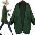 Cardigan Suéter de Las Mujeres 2016 Otoño Invierno Europa Tire Femme Chaqueta Larga Suelta Suéter de la Rebeca Del Batwing de Punto Suéter de Las Señoras