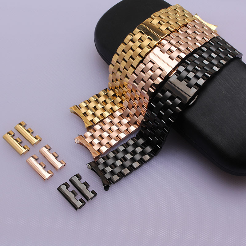 New arrival watchband straps 16mm 18mm 20mm 22mm Metal bracelet Black Yellow gold rosegold  fashion accessories wristwatch bands new arrival handmade blue cowhide leather watchband strap 16mm 18mm 20mm 22mm watch accessories rosegold buckle metal clasp