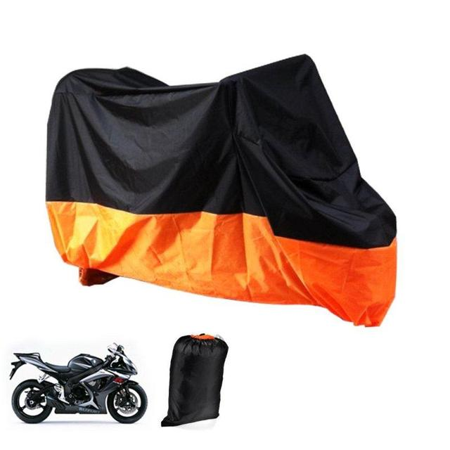 Universal Black/ Orange Breathable L Size Motorcycle Cover Outdoor Weatheproof Rain Protector For Motor Bike Cruiser Scooter