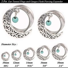 1Pair Hollow Moon with blue stone Beed Ear Tunnel Plugs and Gauges Flesh Tunnel Body Piercing Ear Expander Reamer stretching