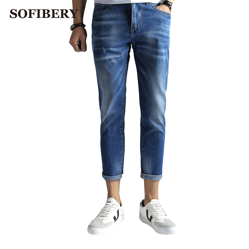 ФОТО SOFIBERY Mens Ankle Jeans Denim Slim Fit Ripped Jeans for Men Comfort Wash Soft Blue Denim Jeans Trousers Pants Men M1024-368