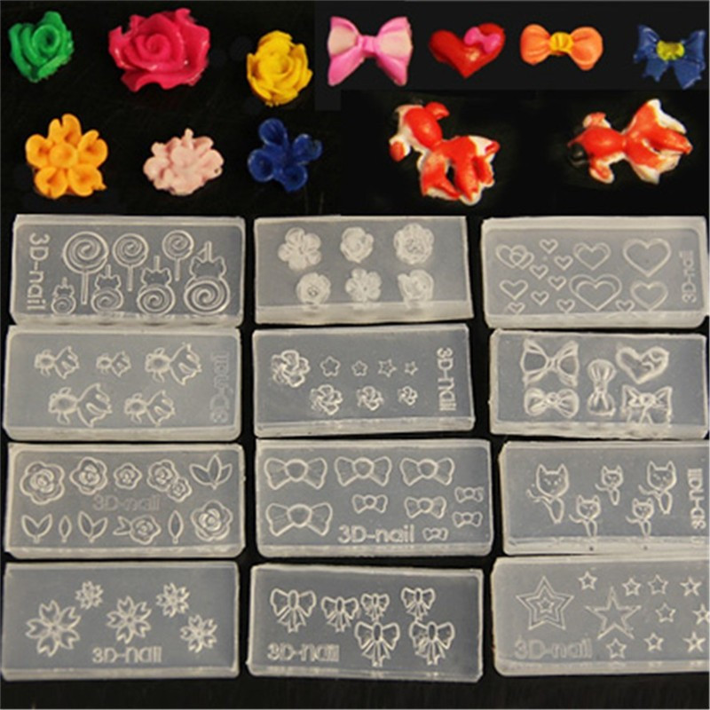 3Pcs 3D Acrylic Nail Art Mold Carving Template Flower Image Pattern ...