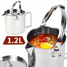 1.2L Outdoor Stainless Steel Kettles Mountaineering Camping Portable Boil Water Hanging Pot with Lid Tableware