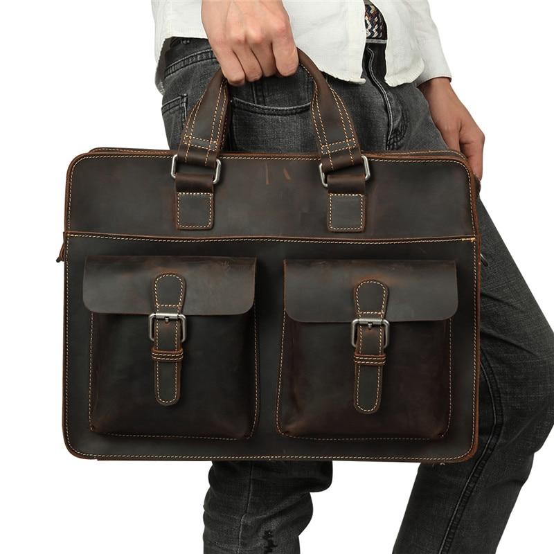 Nesitu Men Briefcase Portfolio Business Shoulder Bag Crazy Horse Genuine Leather 14'' Laptop Office Messenger Bags Male M6380