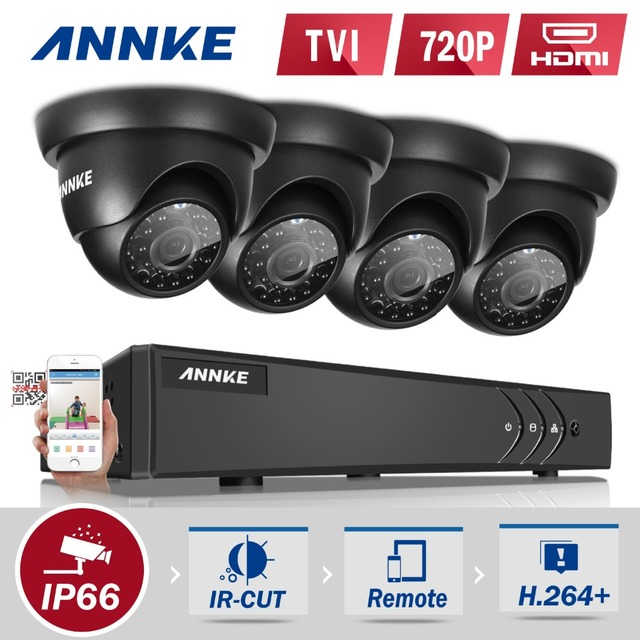 ANNKE 8CH 720P HD-TVI Security DVR Recorder System and (4) 1280TVL Outdoor Fixed Dome Cameras with IP66 Weatherproof Day/Night