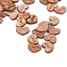 Corações de madeira Enfeites De Madeira Mini Corações Presentes Enfeites Para Casa Enfeites Para Artesanato Bonito(China)
