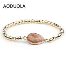 Natural stone Gold Color Hematite Elastic Beaded Bracelets Adjustable Charm Bracelet Friendship women Couple jewelry Gift