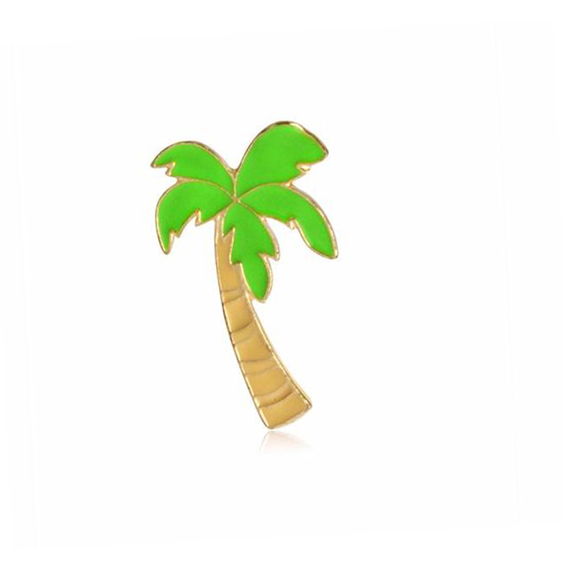 Hot Sale Creative Cat Coconut Tree Orange Juice Sunglasses Slipper Mini Enamel Brooches Beach Style Shirt Collar Brooch Pins