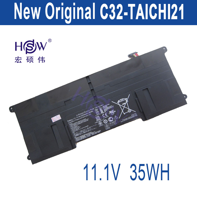 цены HSW New  11.1V 3200mAh 35Wh C32-TAICHI21 Battery for Asus Ultrabook Taichi 21 bateria akku