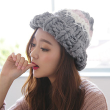 Pure hand-painted fashion ladies sharp wool beanies Autumn and winter curling thick knitted warm women hat