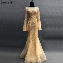 SERENE HILL Gold Dubai Evening Dresses 2019 Trumpet Sleeves