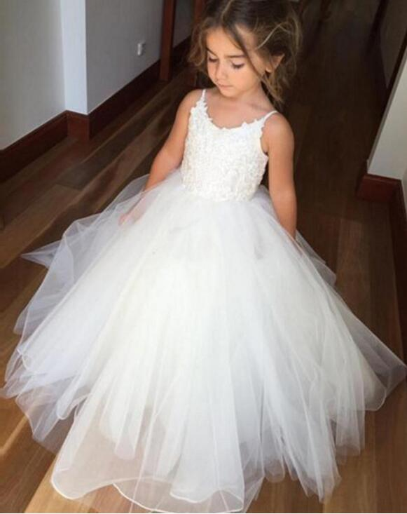 Ball Gown   Flower     Girl     Dresses   2019 White Long Pageant   Dresses   For Kids Evening Gowns Spaghetti Straps For Wedding Party M2591