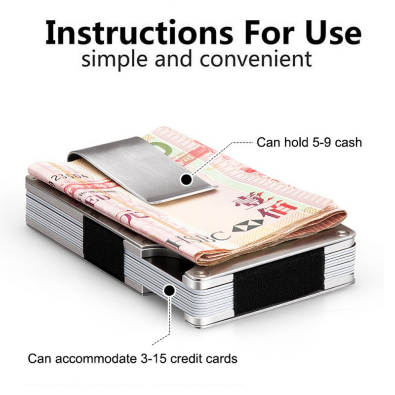 Mini Credit Card Holder Thin Metal ID Anti-Chief Metal Wallet Travel Black Silver Stainless Steel Bank Cards Box