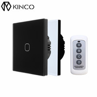 KINCO EU UK AC170 240V 1Gang 1Way Standard Smart Touch Switch RF433 Remote Control Wall Switch