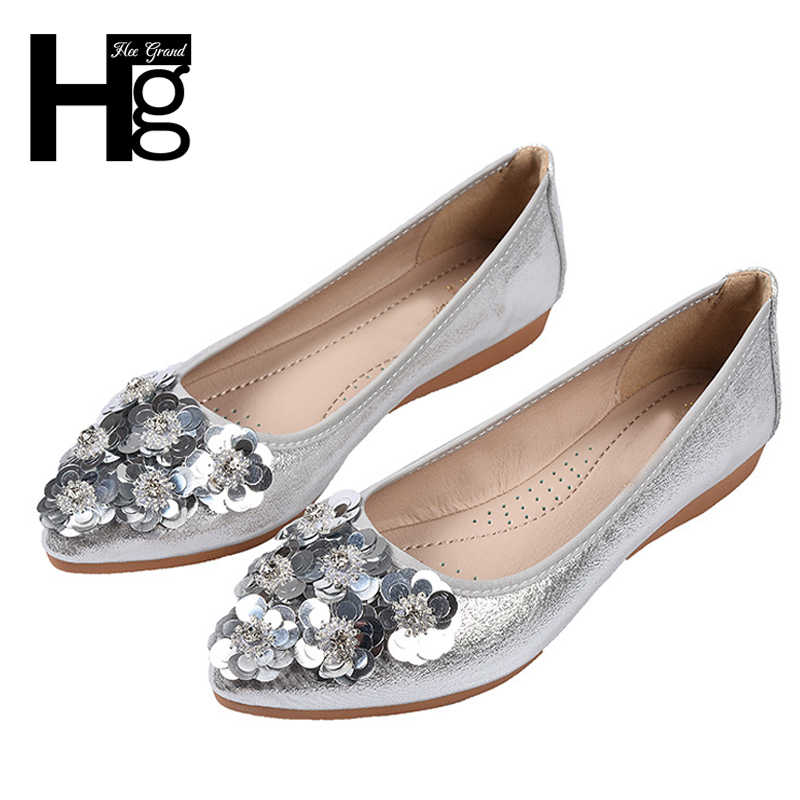 HEE GRAND 2018 Flower Women Flats Slip On Gold Sliver Casual Shoes Comfortable Flats Shoes Woman Plus Size 35-43 XWD6746
