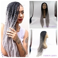 Gray synthetic lace front wig omber dark black to grey full hand tied braided lace front wig for black woman sliver grey wig