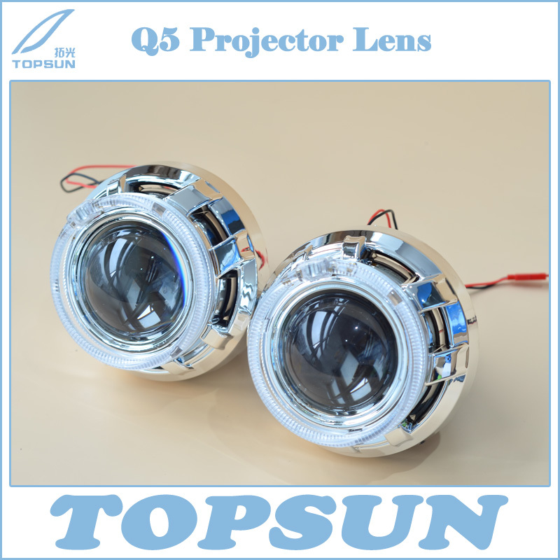 Car Accessory 3 inch Q5 Projector Lens with Optic Light Guide Angel Eyes and Shroud, Bixenon Headlight model for D1S,D2S,D3S,D4S car styling 80mm for 2 5inch projector lens led light guide angel eyes fiber optic angel eyes drl halo ring super bright