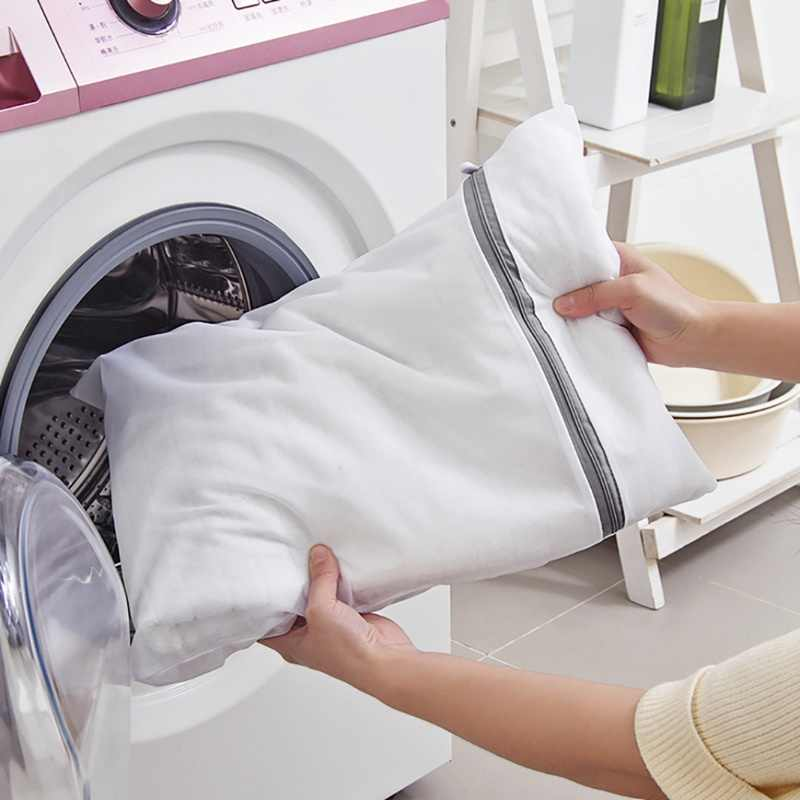 Wasserij Mesh Polyester Zakken Wassen Kleding Reizen Storage Zip Bag Wassen Beha Kousen En Ondergoed High-end Elegant Grijs rits